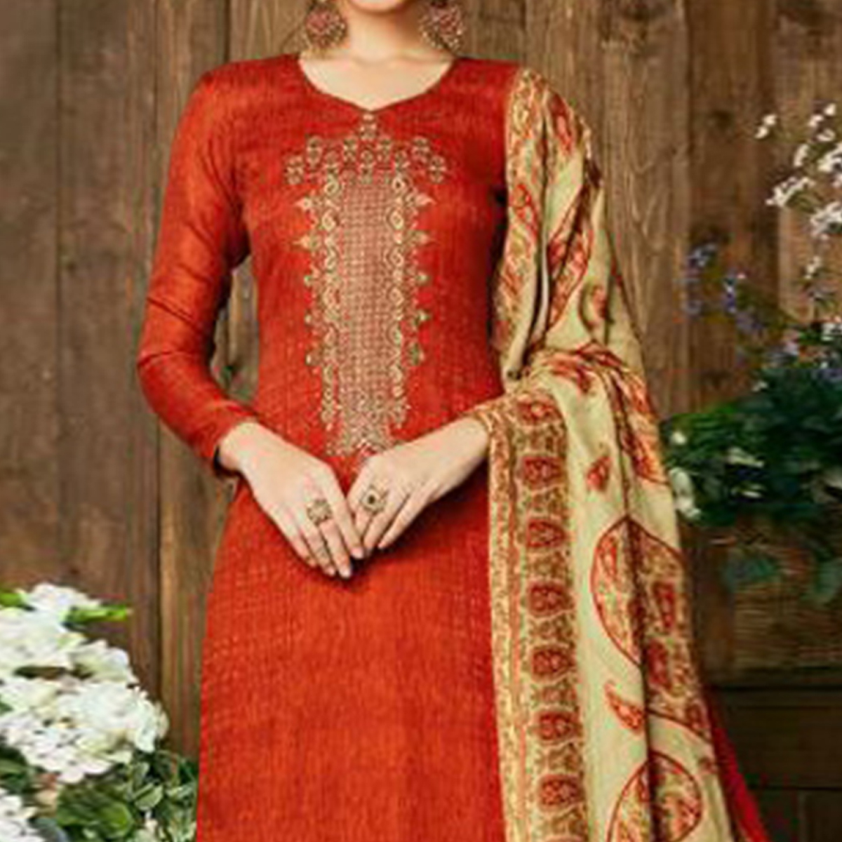 Glowing Orange Colored Party Wear Embroidered Pashmina Palazzo Suit
