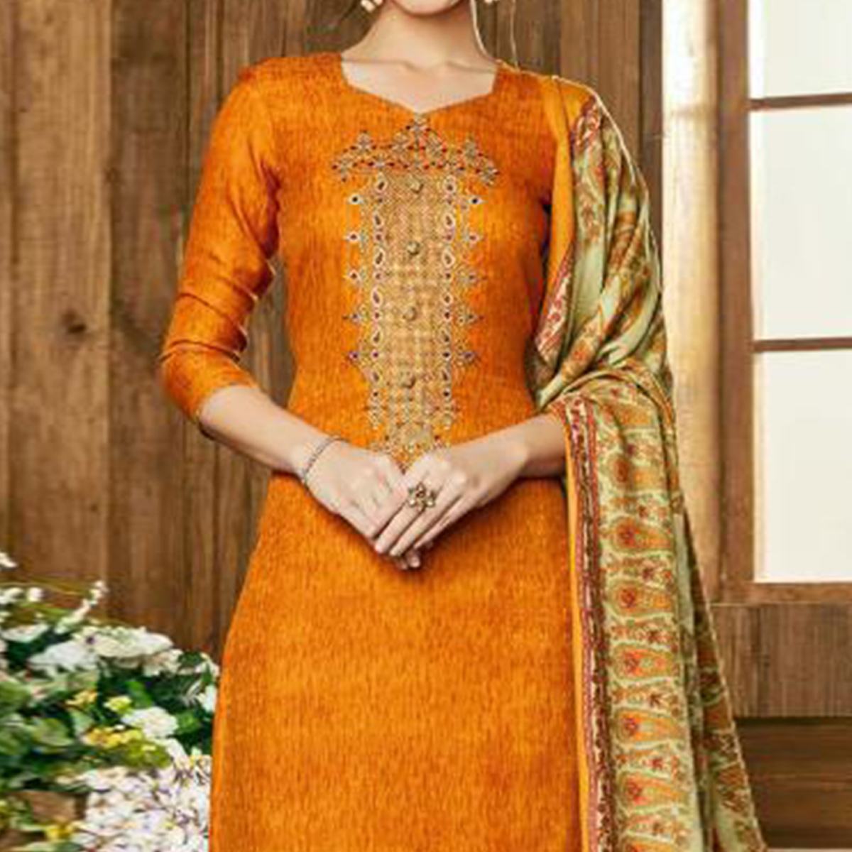 Exceptional Mustard Yellow Colored Party Wear Embroidered Pashmina Palazzo Suit