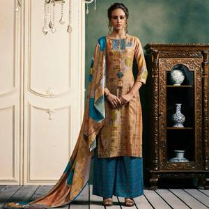 Alluring Beige Colored Casual Printed Pashmina Palazzo Suit