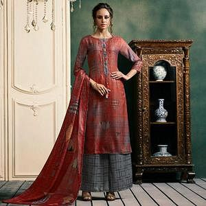 Radiant Red Colored Casual Printed Pashmina Palazzo Suit