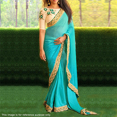Mesmerising Blue Designer Embroidered Partywear 60GM Georgette Saree