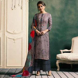 Opulent Mauve Colored Casual Printed Pashmina Palazzo Suit
