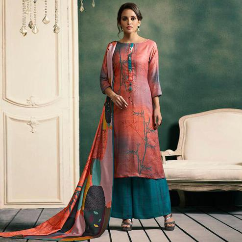 Dazzling Peach Colored Casual Printed Pashmina Palazzo Suit