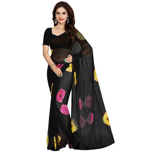 Jazzy Black Colored Casual Wear Printed Georgette Saree