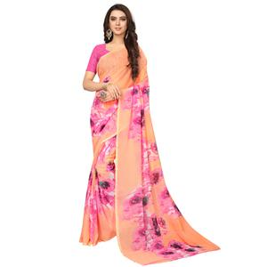 Adorning Peach Colored Casual Wear Printed Georgette Saree