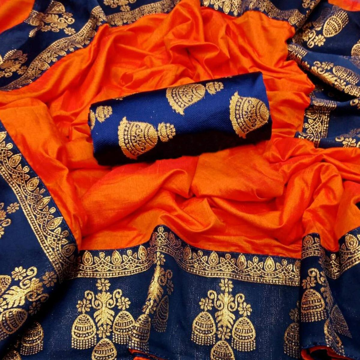 Appealing Orange Colored Festive Wear Printed Paper Silk Saree