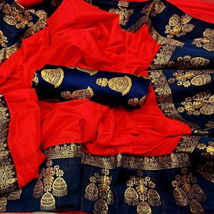 Capricious Red Colored Festive Wear Printed Paper Silk Saree