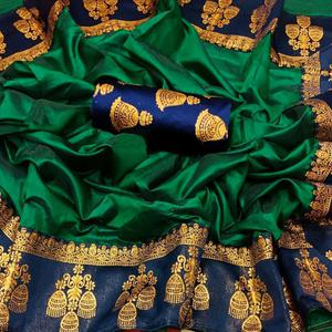 Groovy Dark Green Colored Festive Wear Printed Paper Silk Saree