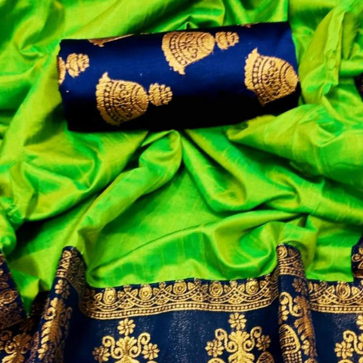 Prominent Light Green Colored Festive Wear Printed Paper Silk Saree