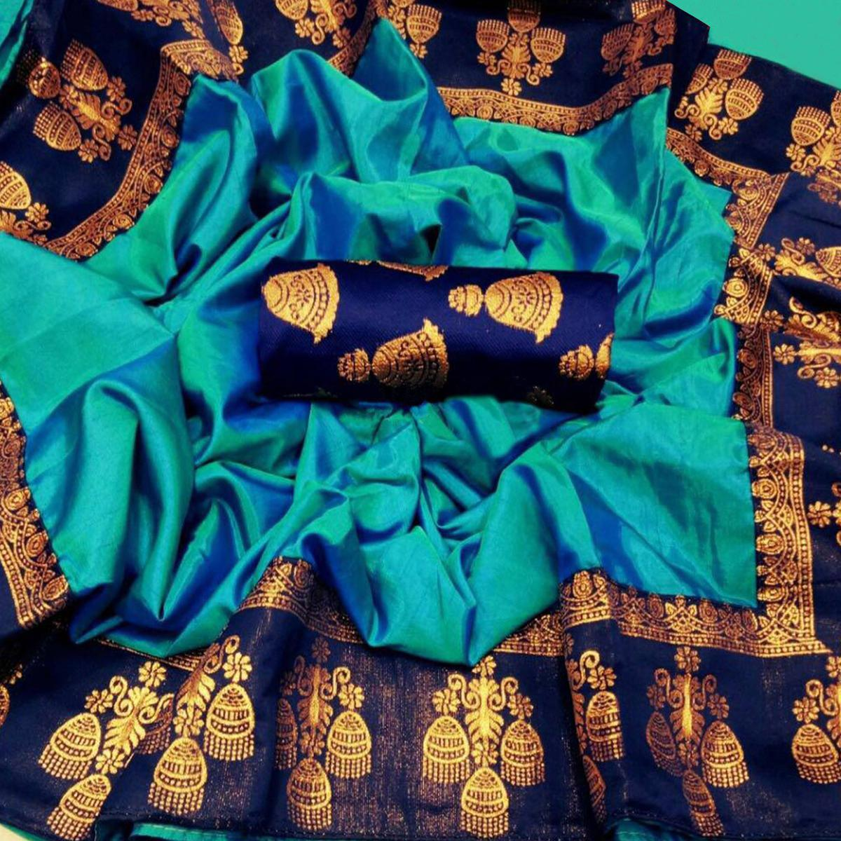 Innovative Blue Colored Festive Wear Printed Paper Silk Saree