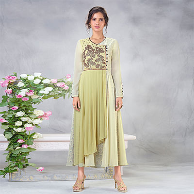 Beautiful Green Designer Embroidered Faux Georgette Kurti