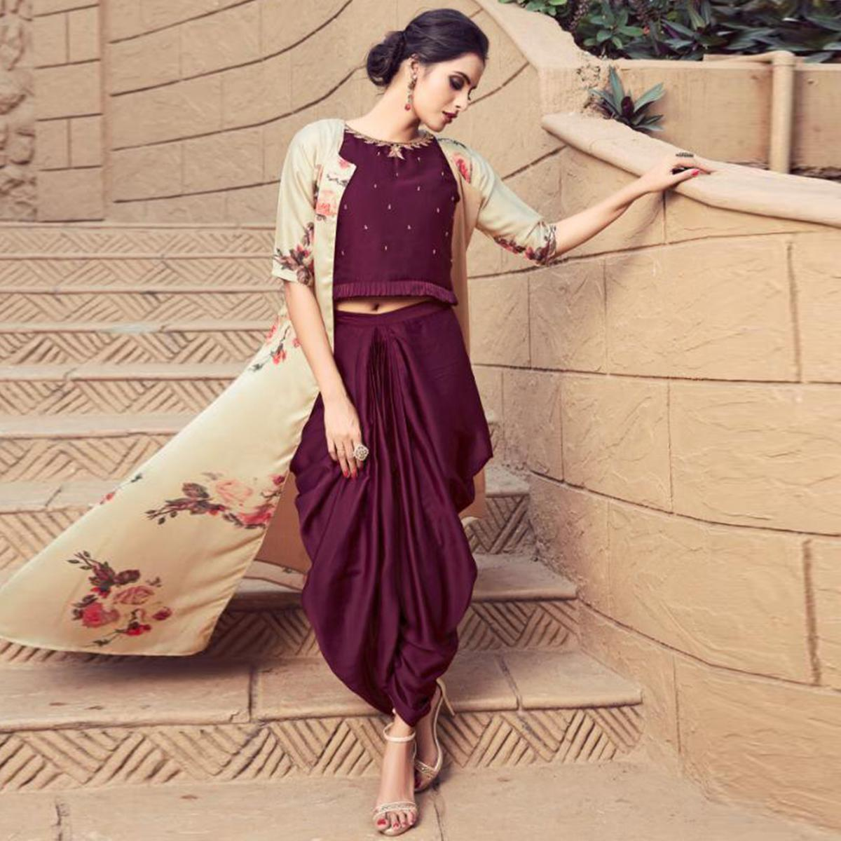 152e15e9f587 Buy Fantastic Dark Wine-Cream Colored Partywear Embroidered Satin Indo-Western  Suit Online India, Best Prices, Reviews - Peachmode
