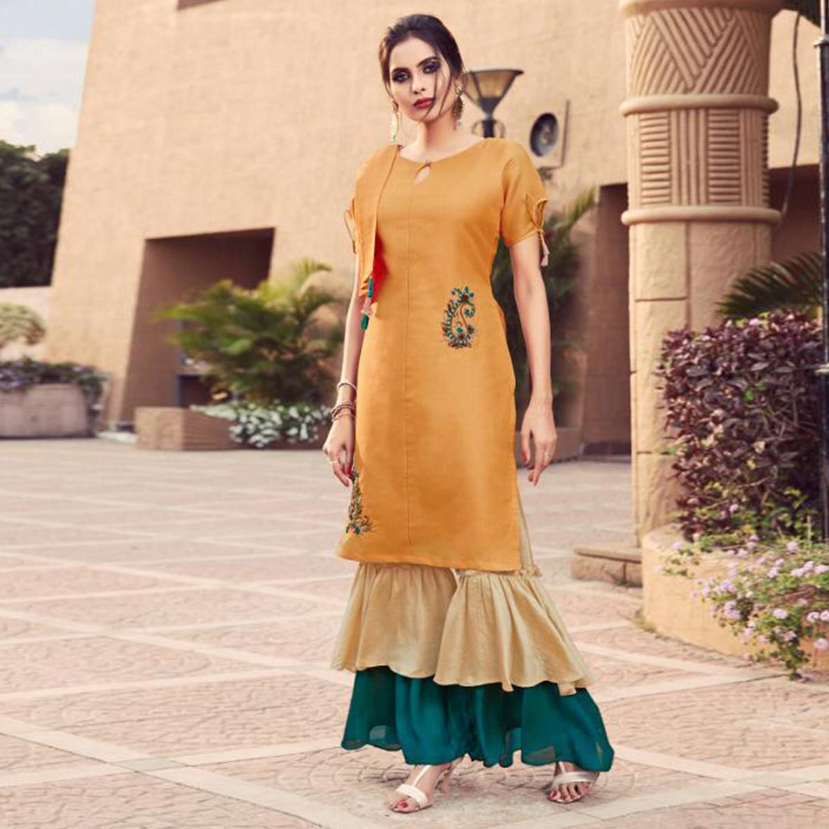 Amazing Light Orange Colored Partywear Embroidered cotton Indo-Western Suit