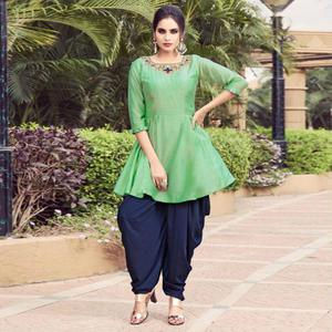 Refreshing Green Colored Partywear Embroidered Silk Indo-Western Suit