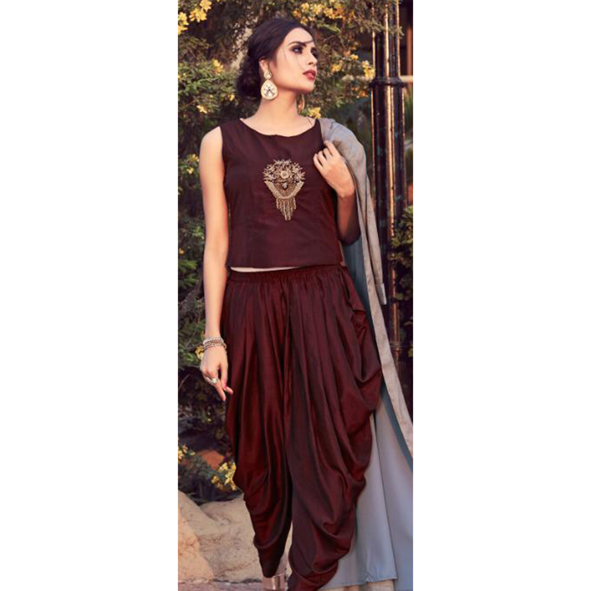 9298d5ed0ad8 Exceptional Dark Brown-Gray Colored Partywear Embroidered Cotton Indo-Western  Suit