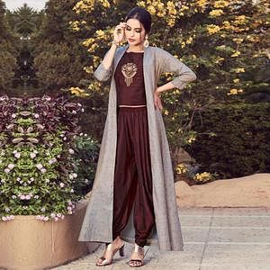 Exceptional Dark Brown-Gray Colored Partywear Embroidered Cotton Indo-Western Suit
