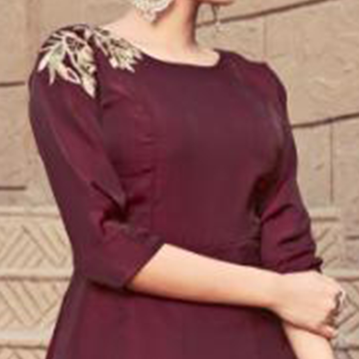 Excellent Dark Maroon Colored Partywear Embroidered Satin Indo-Western Suit