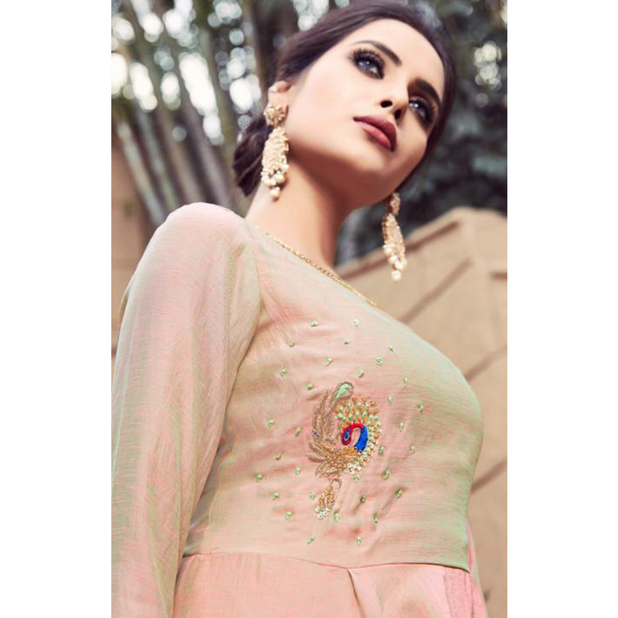 Impressive Pastel Pink Colored Partywear Embroidered Nylon Indo-Western Suit