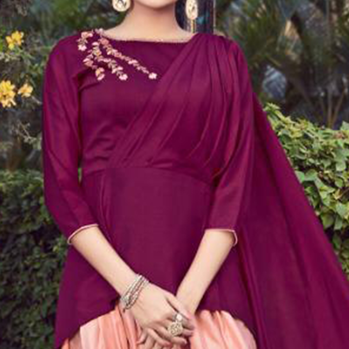 Flamboyant Dark Magenta Pink Colored Partywear Embroidered Cotton Indo-Western Suit