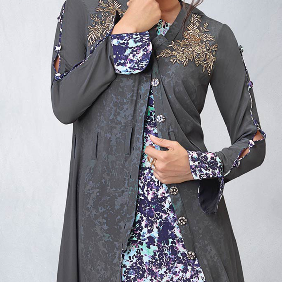 Gorgeous Gray Designer Embroidered Faux Georgette Kurti