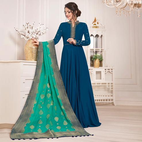 Gleaming Stone Blue Colored Party Wear Embroidered Cotton Silk Anarkali Suit
