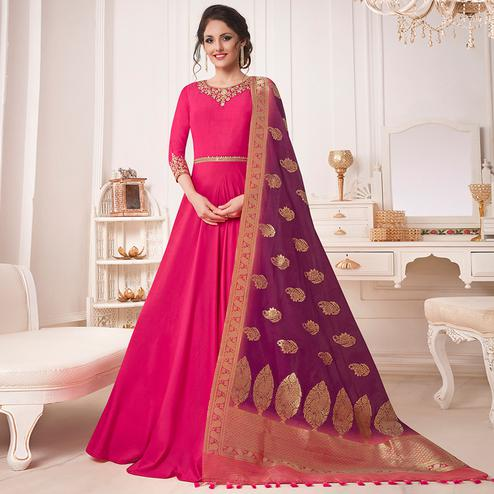 Magnetic Magenta Pink Colored Party Wear Embroidered Cotton Silk Anarkali Suit