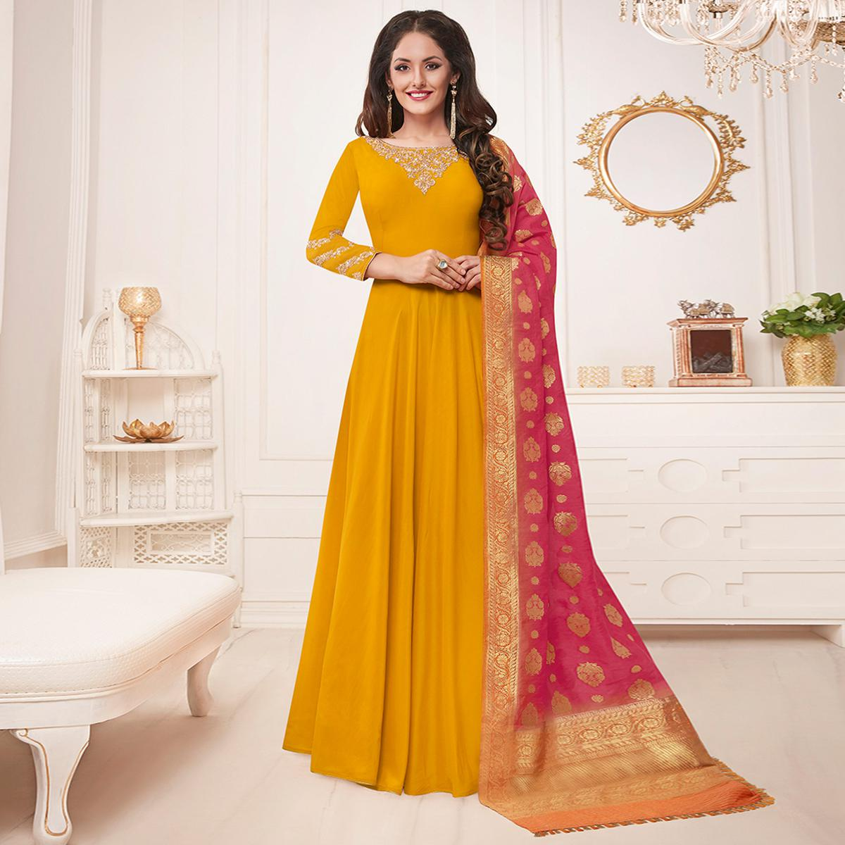 Elegant Mustard Yellow Colored Party Wear Embroidered Cotton Silk Anarkali Suit