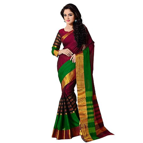 Multicolored Cotton Silk Weaved Saree