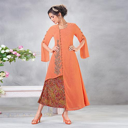Adorable Orange Designer Embroidered Faux Georgette Kurti