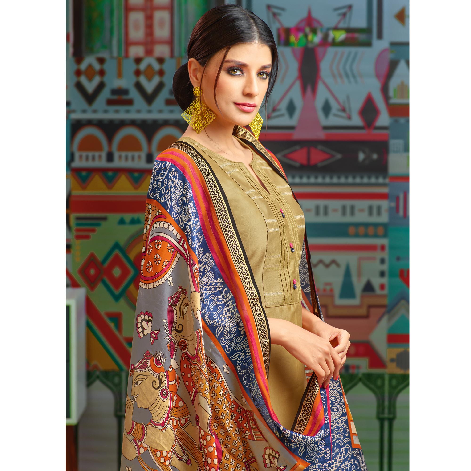 Intricate Beige Colored Party Wear Printed Chanderi Silk Palazzo Suit