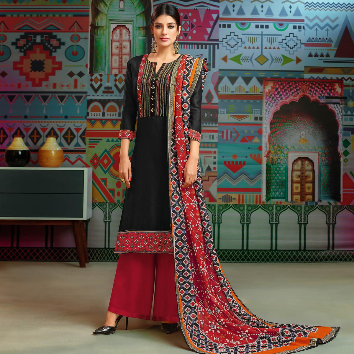 Arresting Black Colored Party Wear Printed Chanderi Silk Palazzo Suit
