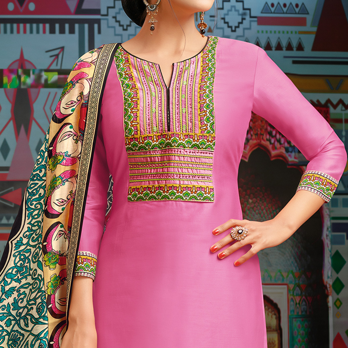 Desirable Pink Colored Party Wear Printed Chanderi Silk Palazzo Suit