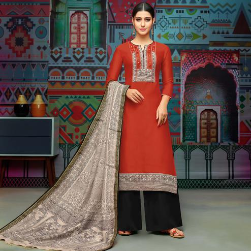 Starring Dark Rust Red Colored Party Wear Printed Chanderi Silk Palazzo Suit