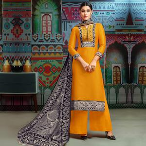 Trendy Yellow Colored Party Wear Printed Chanderi Silk Palazzo Suit