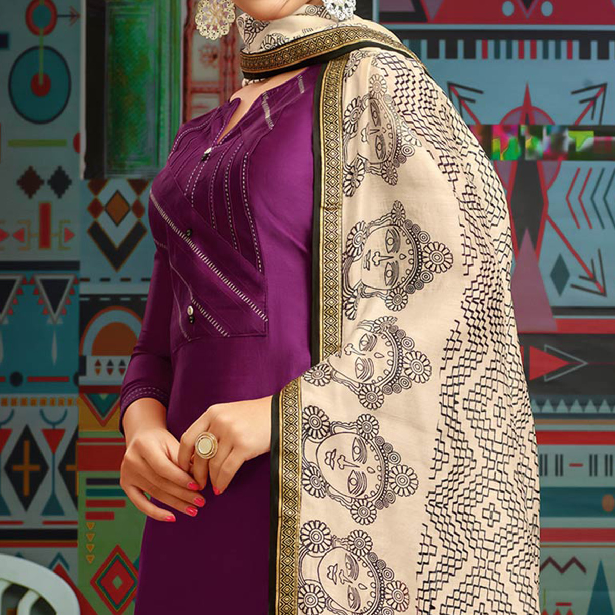 Flattering Violet Colored Party Wear Printed Chanderi Silk Palazzo Suit