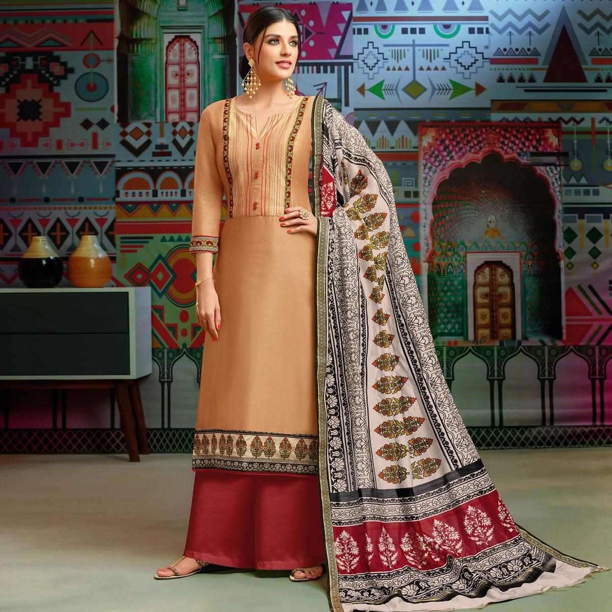 Radiant Pastel Peach Colored Party Wear Printed Chanderi Silk Palazzo Suit
