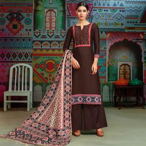 Pleasant Brown Colored Party Wear Printed Chanderi Silk Palazzo Suit