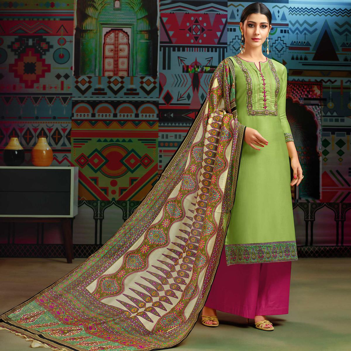 Opulent Green Colored Party Wear Printed Chanderi Silk Palazzo Suit