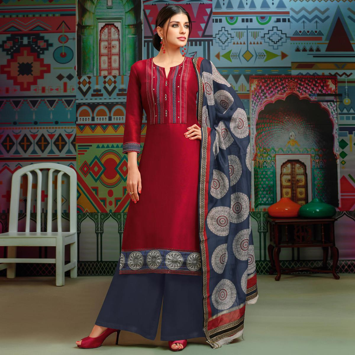 Energetic Scarlet Red Colored Party Wear Printed Chanderi Silk Palazzo Suit