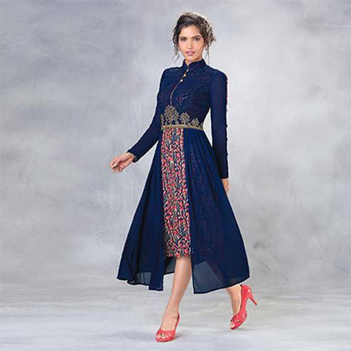 Stunning Blue Designer Embroidered Faux Georgette Kurti