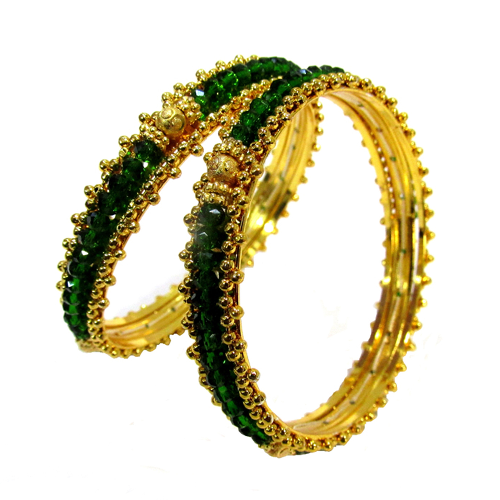Golden Green Colored Beads Bangle Set Of 2