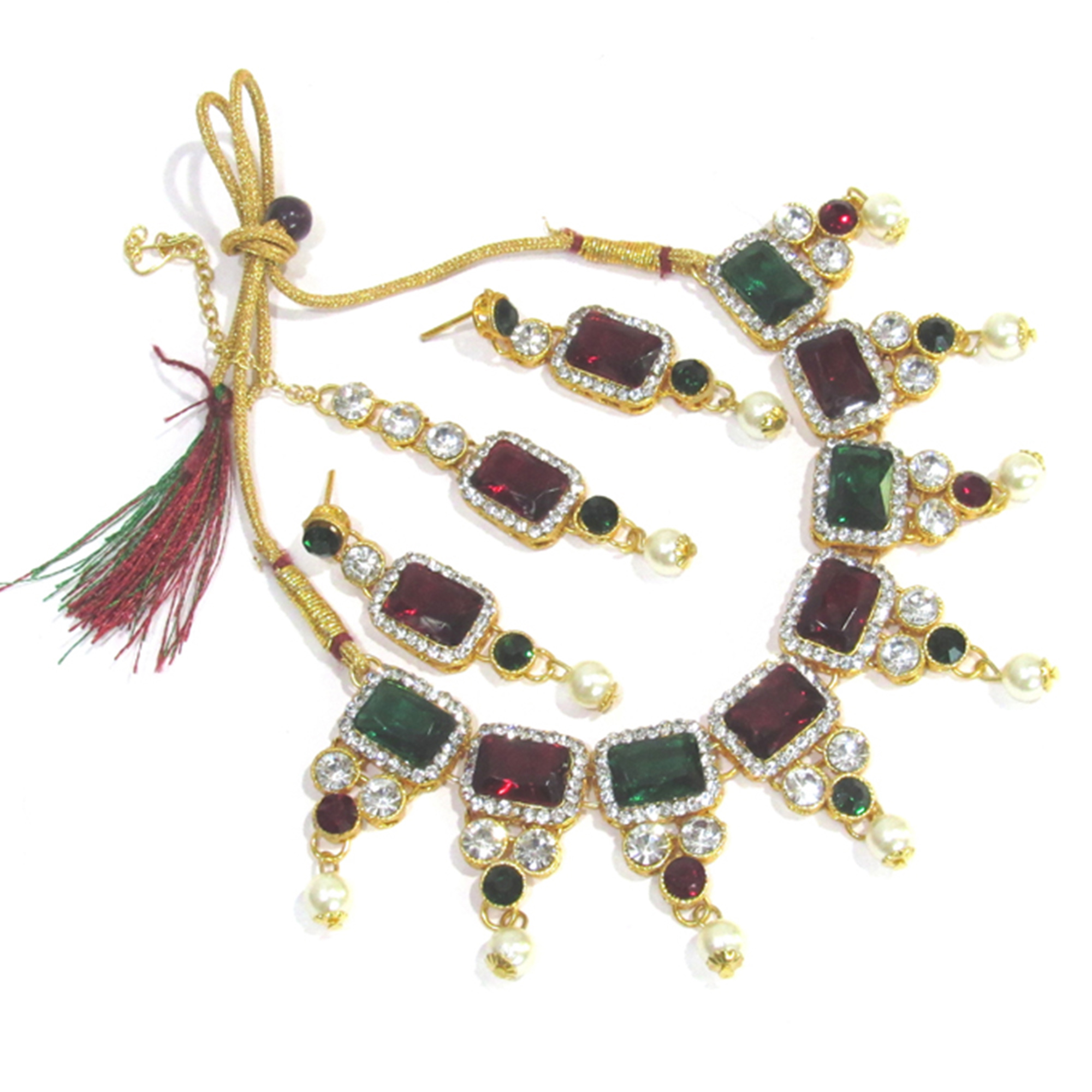 Beautiful Maroon Green Colored Square Stone Pearl Drop Necklace Set