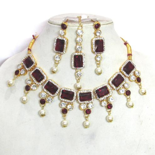 Beautiful Maroon Colored Square Stone Pearl Drop Necklace Set