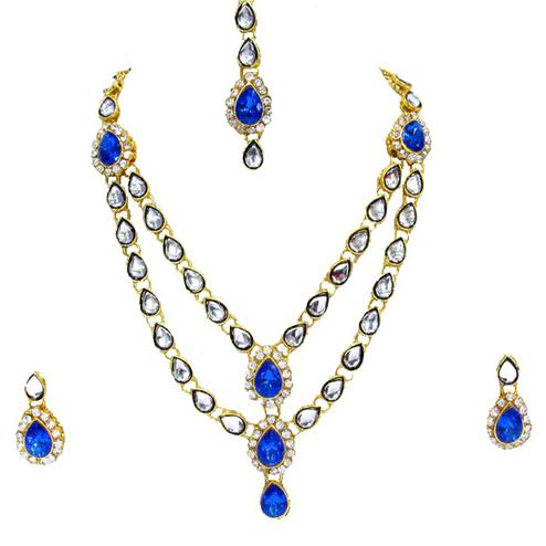 Blue Colored Double Line Kundan Necklace Set