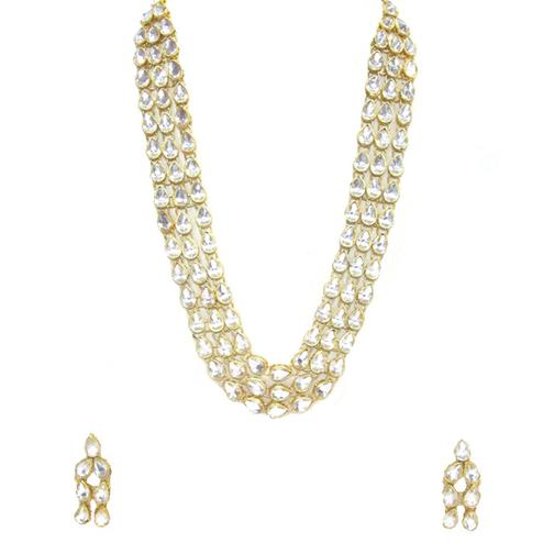 3 Line White Colored Kundan Necklace Set