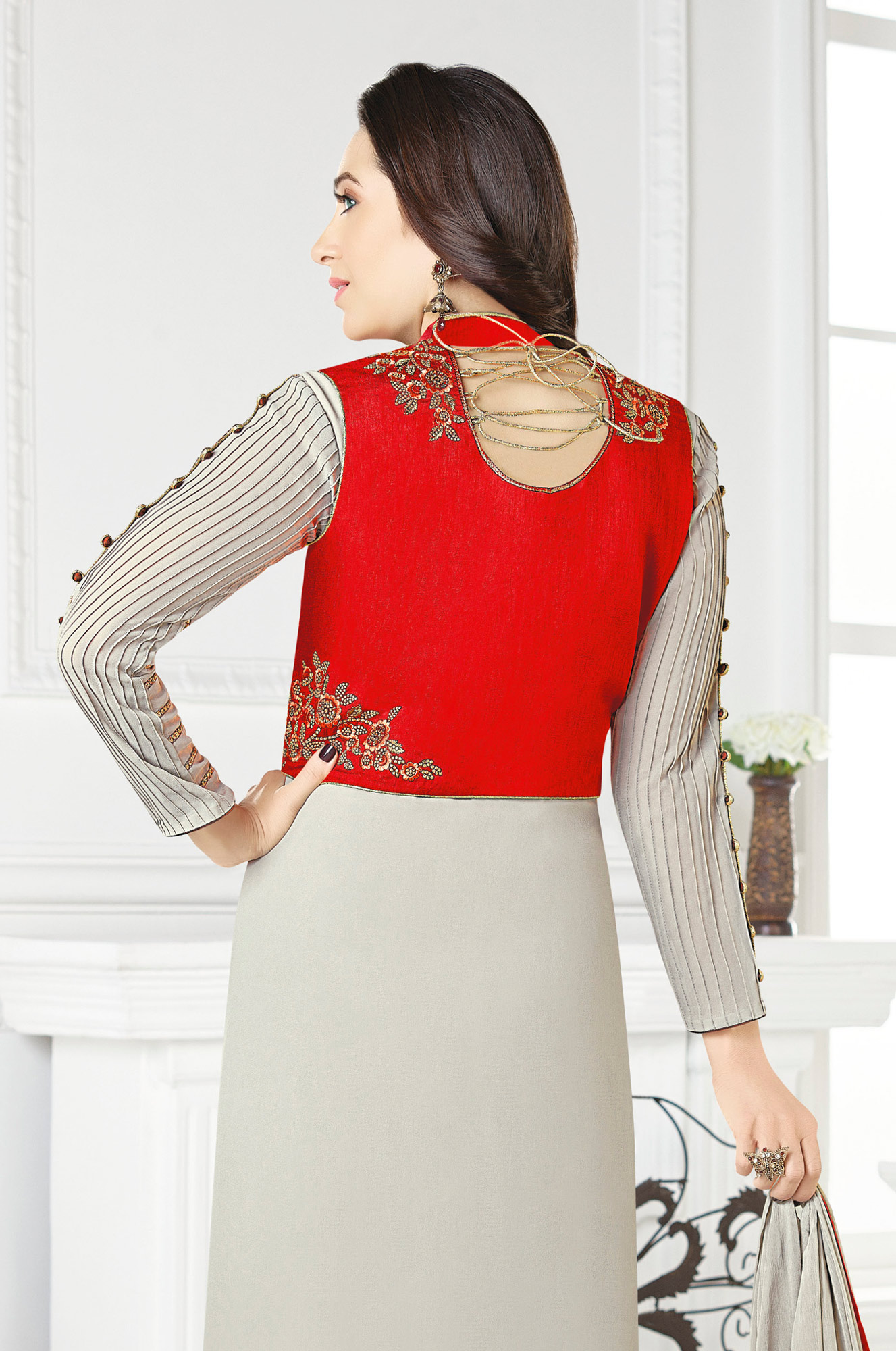 Beautiful Gray-Red Designer Embroidered Faux Georgette Salwar Suit