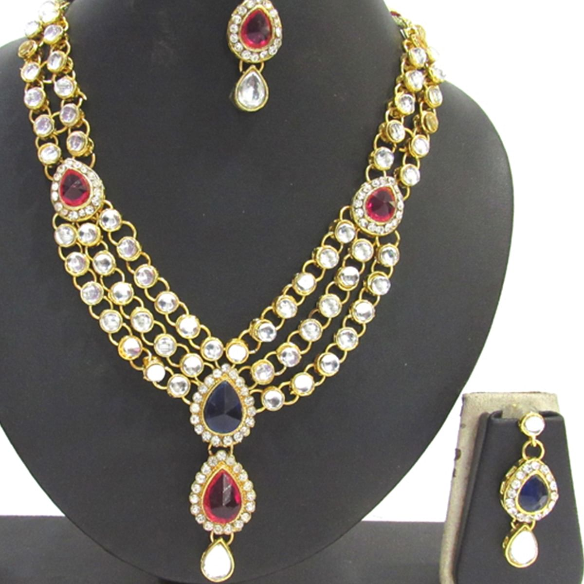 Pink And Blue Colored Kundan Necklace Set
