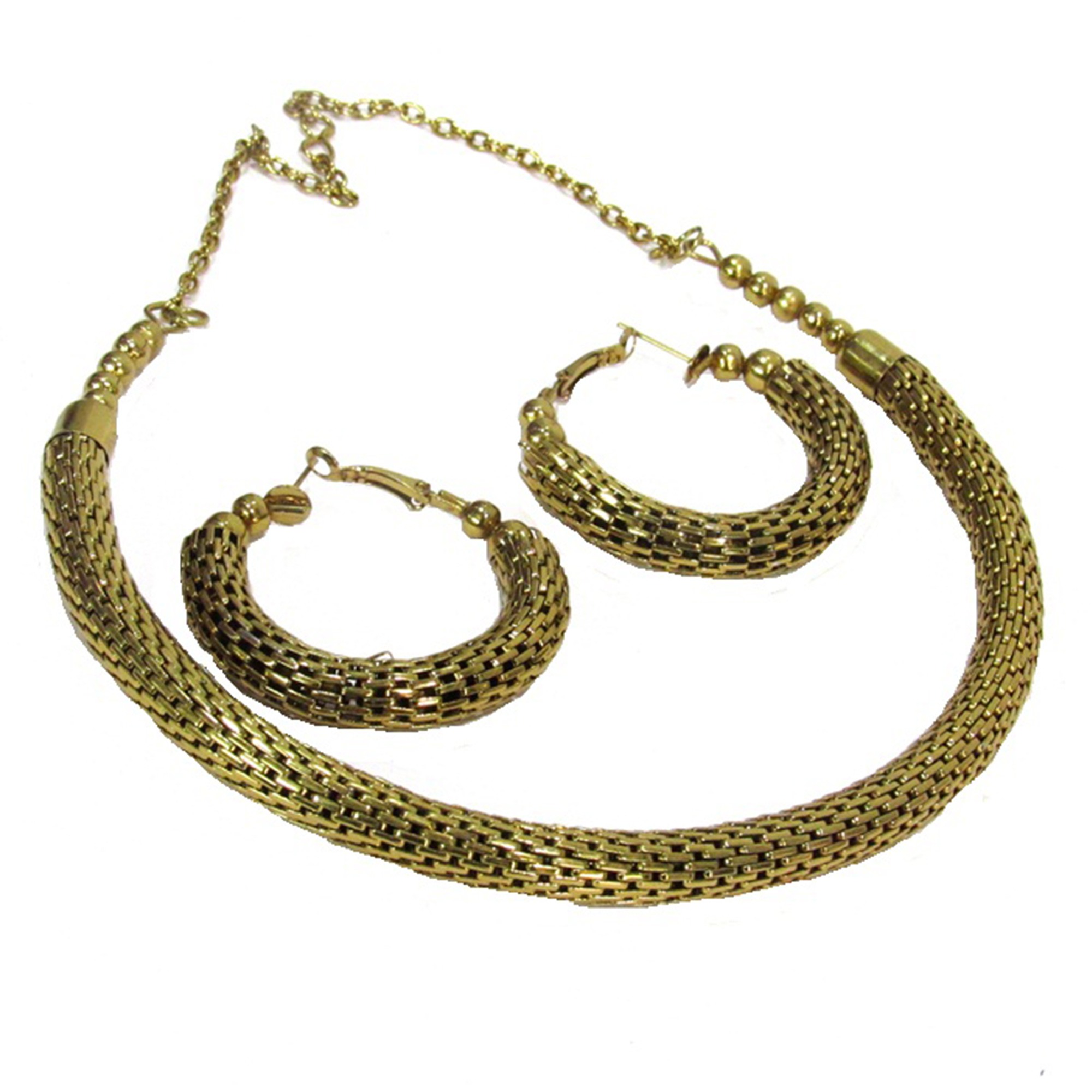 Fancy Look Golden Colored Kada Necklace Set