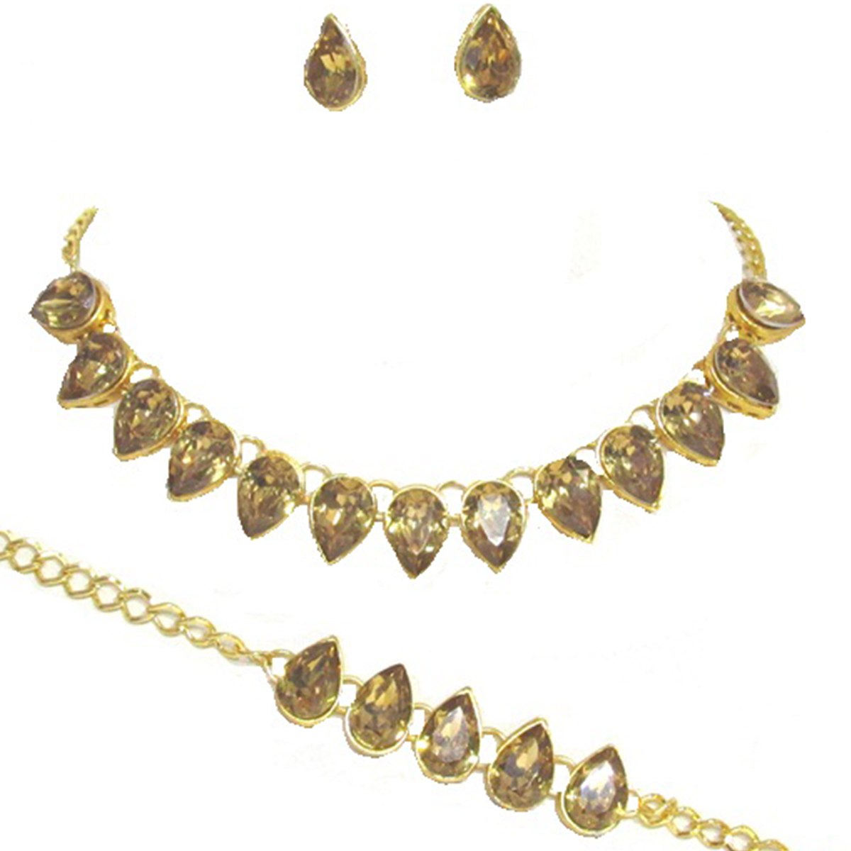 Fancy Golden Colored Tilak Stone Necklace Set