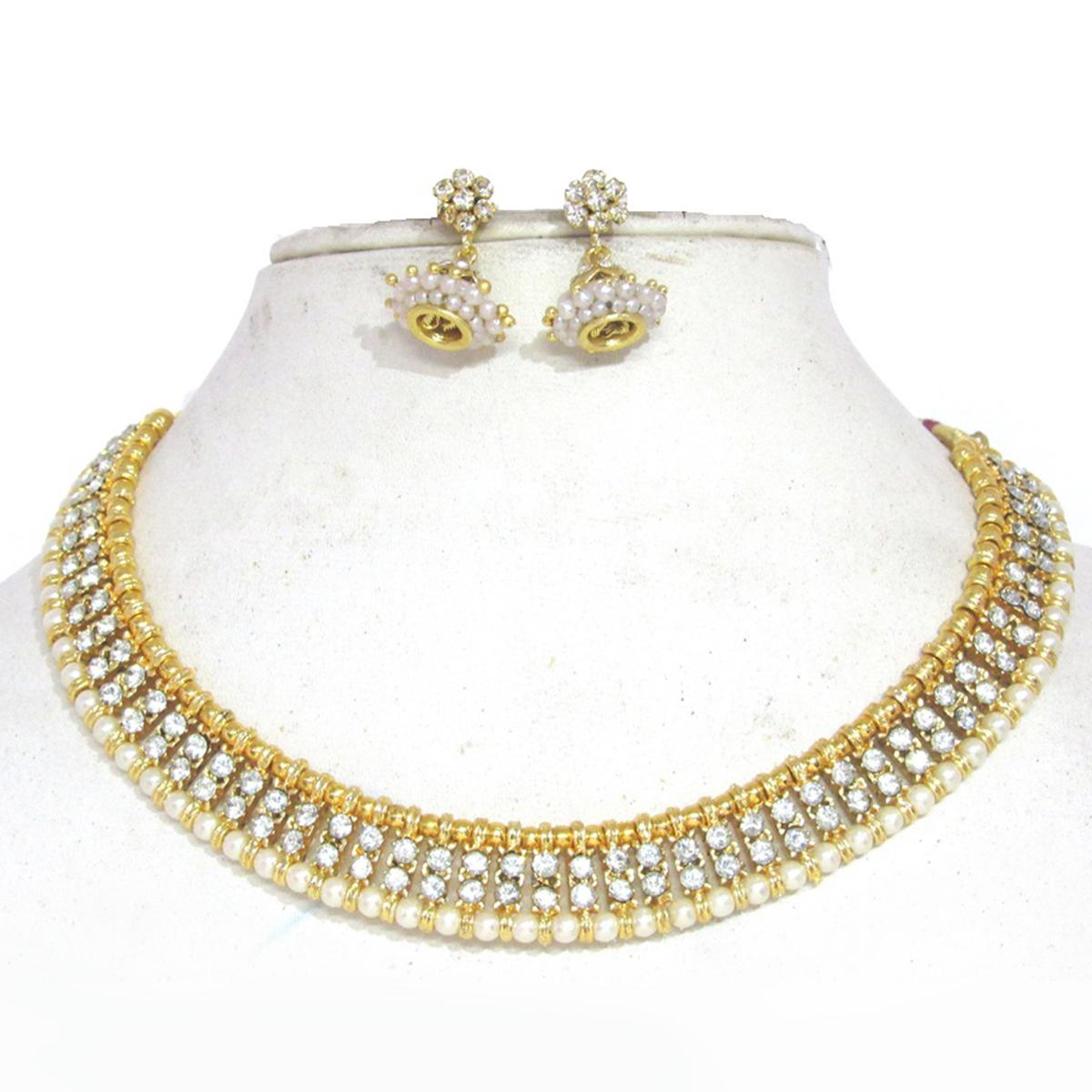 Golden White Colored Double Stone Jhumka Necklace Set